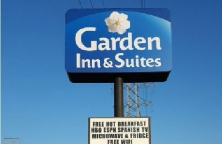 Garden Inn & Suites Lighted Pole Sign