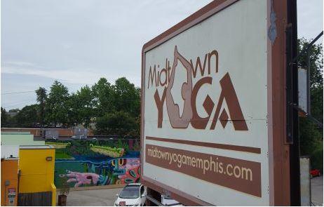 Midtown Yoga Sign Damaged