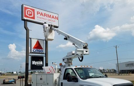 Parman Energy Lighted Pole Sign Revision