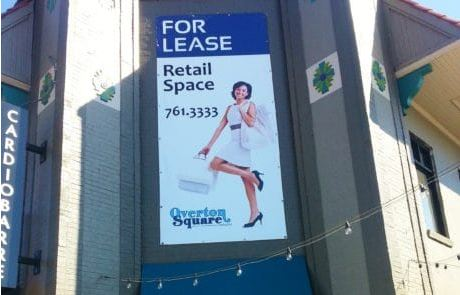 for lease large vertical banner on building