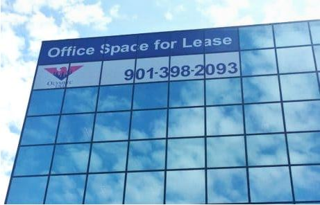 for lease window graphics on commercial high rise