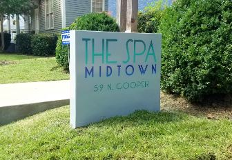 The Spa Midtown Post & Panel Monument Style Sign
