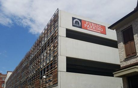 Public Parking Banner on High Rise