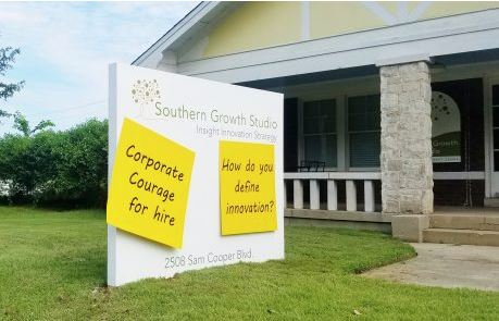 Southern Growth Studio Monument Sign With 3D Sticky Notes
