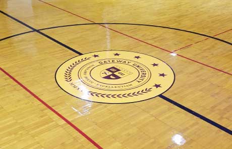 Gateway-Seal-Decal-On-Gym-Floor