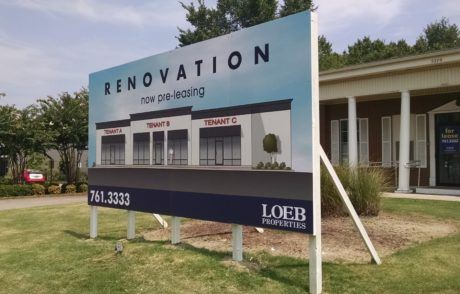 large renovation post and panel sign
