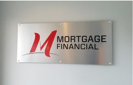 Mortgage Financial Stand Off Interior Sign Brushed Aluminum