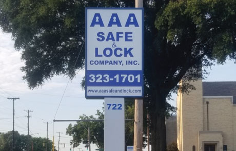 AAA-Safe-and-Lock-Lighted-Pole-Sign